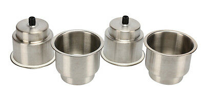 4 x Stainless Cup Drink Holder with Drain Marine Boat Rv Camper-AM