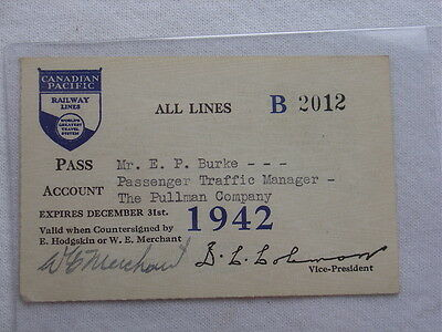 Vintage 1942 Canadian Pacific Railroad Railway Lines Pass