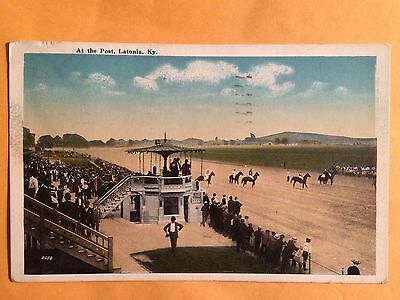 1920 Postcard At The Post! Latonia, Kentucky, Horse Racing Track! Sweet!