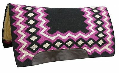 "Showman PINK 34"" x 36"" Contoured Wool Top Cutter Style Saddle Pad! HORSE TACK!"