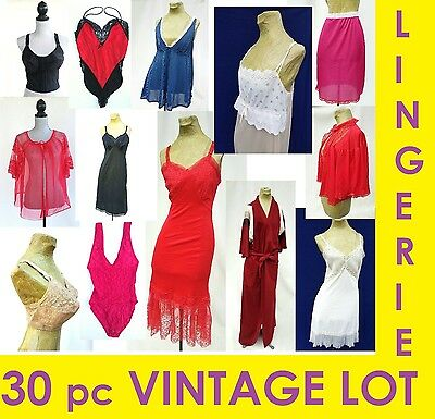 VINTAGE LINGERIE LOT ~ 30 PC Full Slips 1950s 60s Rockabilly Lace Red Wholesale