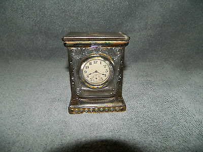 Antique Glass Mantle Clock Candy Container W/ Sliding Tin Lid Vintage Toy Old