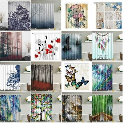 Waterproof Fabric Nature Scenery Bathroom Shower Curtain Panel Sheer 12 Hook NEW