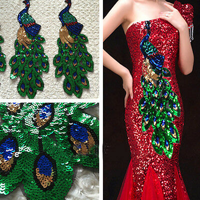 Fashion Peacock Sequins Appliques Patches Clothes Sew On Embroidered DIY Crafts