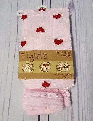 New Nwt Old Navy Baby Girls 0 3 6 Mos Pink Red Heart Knit Tights Thick Valentine