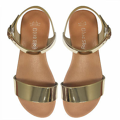 NEW Girls Bright Gold Shiny Leather Sandals Deep Tread Size8-13 Approx: 3Y - 8Y
