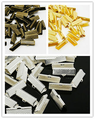 100pcs Iron Ribbon End Clamp Necklace Cord Tips End Clips Jewerly Making 20x8mm