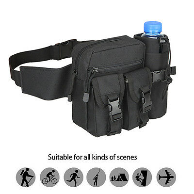 Military Tactical Waist Fanny Pack Belt Bag Camping Hiking Pouch Water Bottle