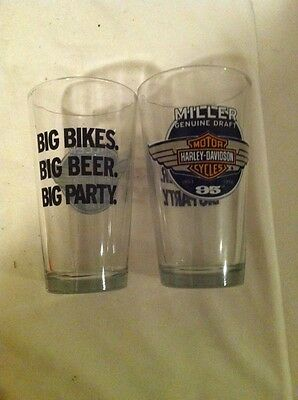 -*MILLER GENUINE DRAFT BEER* GLASSES--HARLEY DAVIDSON--BIG BIKES--SET of 2---EUC
