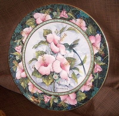 Franklin Mint Hummingbird Plate..blue-Throated Sylph..pink Flowers,royal Doulton