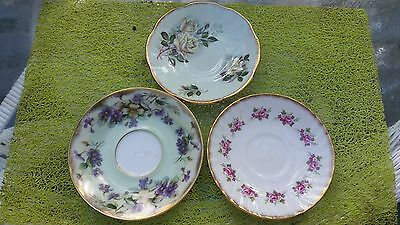 Vintage Set 3 Saucer Plates Dish Porcelain China Floral Dinnerware Reproductions