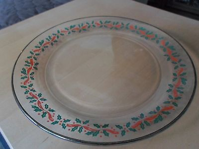 Arby's Arby Arcoroc Christmas Holly Berry Clear Glass Gold Rim Dinner Plate