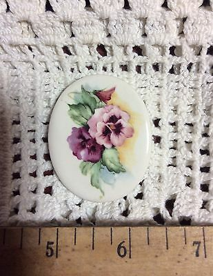 ~*DAINTY PANSY Pendant or Mosaic Tile Handmade Pottery Kiln Fired