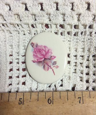 ~*SINGLE PINK ROSE*~ Pendant or Mosaic Tile Handmade Pottery Kiln Fired