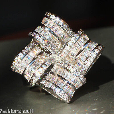 Hot Fashion 925 Silver Filled White Sapphire Birthstone Engagement Wedding Ring