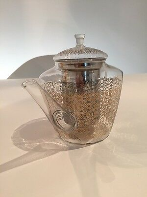 T2 Feature Gold & Glass 2 Cup Tea Pot/ Infuser - Unwanted Gift!