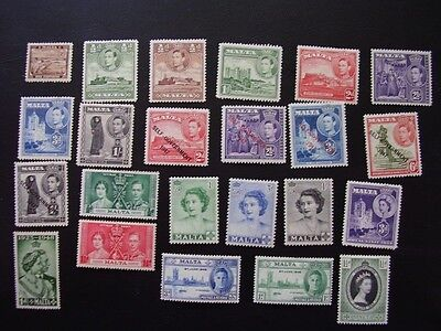 Malta group of mint hinged stamps from 1930s - 1950s