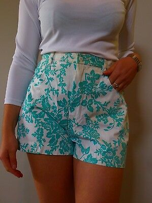 vintage retro true 90s 12 M 44  High waisted Le Lis Blanc aqua floral shorts