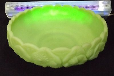 C.1930's Ruffled Edged Embossed Flowers Glowing Uranium Glass Bohemian Bowl.