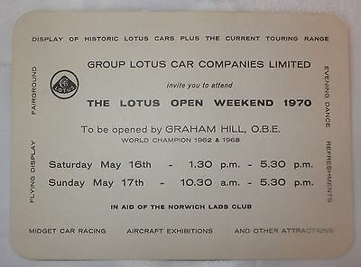 Lotus Cars - Official Invitation 1970