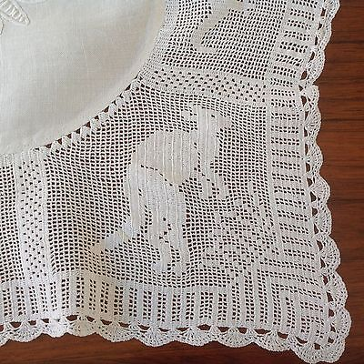 Vintage Antique  Australiana Handworked Tablecloth Mary Card?'mmmm