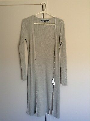 French Connection FCUK light grey long knit style cardigan size M