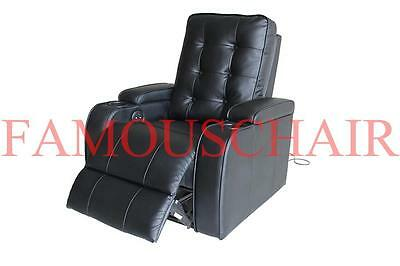 1 Seater Bonded Leather Sofa Electric Power Recliner Chair Home Theater Black