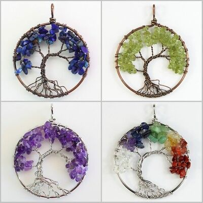 Natural Amethyst Rose Quartz Peridot Chakra Tree of Life Pendant For Necklace