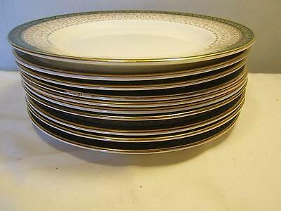 Royal Grafton MAJESTIC GREEN set of TEN side TEA PLATES factory first Great Lot!