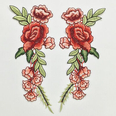 Two Red Rose Applique Badge Embroidered Flower Floral Collar Sew On Patch Dress