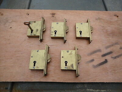 5 Vintage brass sliding cabinet locks with 1 key fits all locks (New old stock)