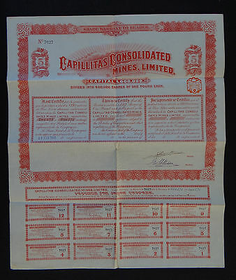 ACTION CAPILLITAS CONSOLIDATED MINES 1908 french bond share warrant