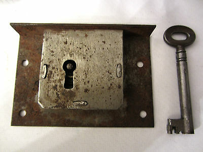 Large Old Vintage Antique Victorian steel draw lock with working key.