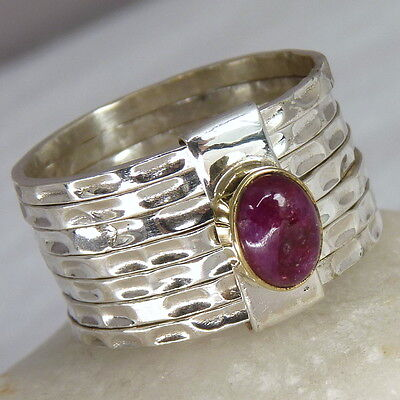 US 8 1/4 ~ Stack of 7 Rings ~ SILVERSARI ~ 925 Sterling Silver with INDIAN RUBY