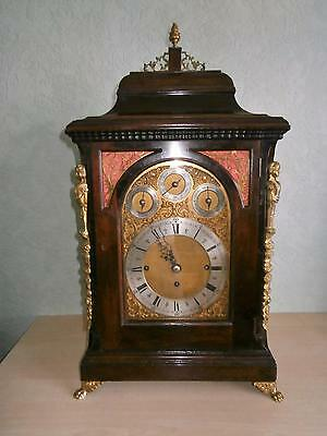 Eight Bell Two Tune Mahogany Musical Triple Fusee Bracket Clock