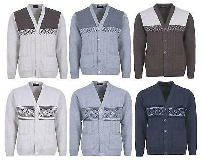 Mens Knitted Cardigan Button Closure Classic Style Top V Neck Long Sleeves