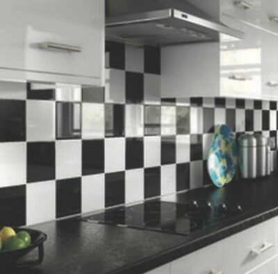 70 6 inch x 6 inch Black Gloss Tile stickers Kitchen/bathroom Easy To Apply New