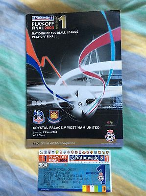 West Ham v Crystal Palace play off final programme & ticket stub 2004
