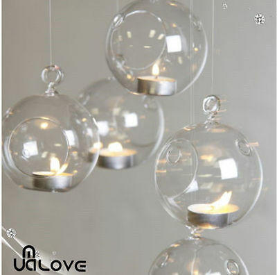 6X Christmas Hanging Glass Bauble Tealight Candle Garden Xmas Tree Decoration