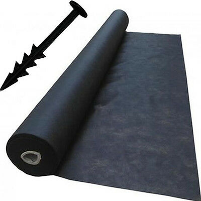 1m x 30m Weed Control Landscape Fabric Membrane Mulch Ground Cover + 30 Pegs