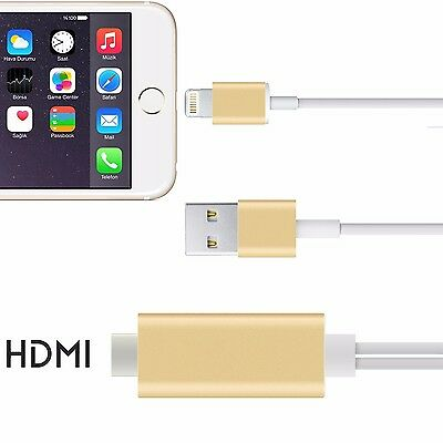 Lightning To HDMI Cable HDTV Adapter For Apple iPhone 6 6s 7 Plug And Play Gold