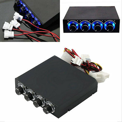 3.5inch PC HDD CPU 4 Channel Fan Speed Controller Led Cooling Front Panel FET