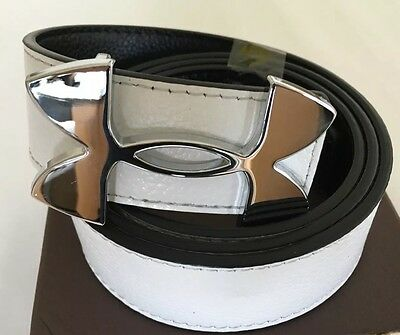 """Mens Under Armour Leather Golf Belt Black And White Reversible Approx 32""""-36"""""""