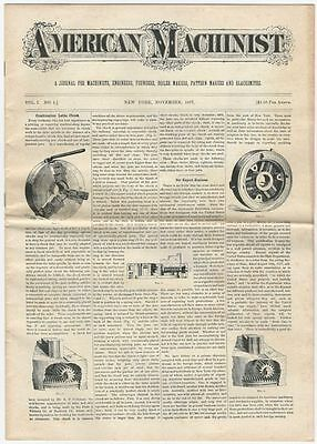 American Machinist for November 1877 - Facsimile Reissue of Technical Newspaper