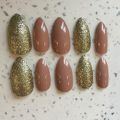 Nude And Gold Glitter Hand Painted Stiletto Nails (20 Nails/2 Sets) PARTY NAILS