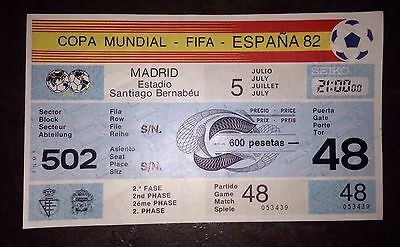 1982 WORLD CUP TICKET:- England v Spain (Counterfoil & Watermark Present) #48