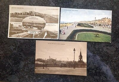 Three Old Postcard Of Brighton And Hove