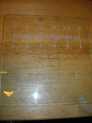 "Owens Illinois pharmacy graduated 0 - 30 plate glass 10"" square used"