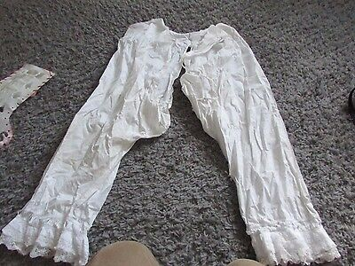 ORIGINAL VICTORIAN OPEN CROTCH VINTAGE BLOOMERS , PANTALOONS s / m