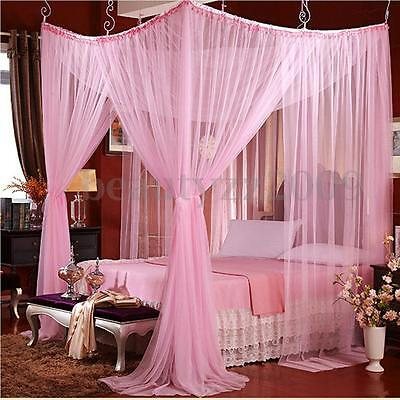 White 4 Corner Post Bed Canopy Mosquito Net For Queen Size Netting Bedding 2017